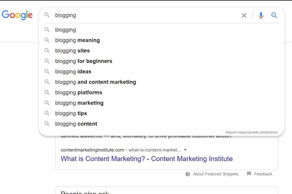 blogging search term