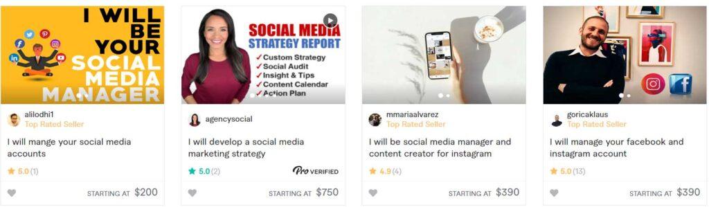 social media manager on fiverr